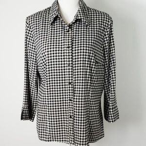🎃 Fred David : Houndstooth 3/4 Sleeve Blouse